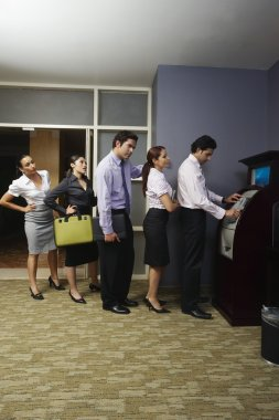 Business Queuing At Vending Machine