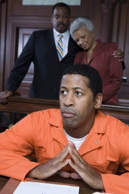 Male criminal in the courtroom