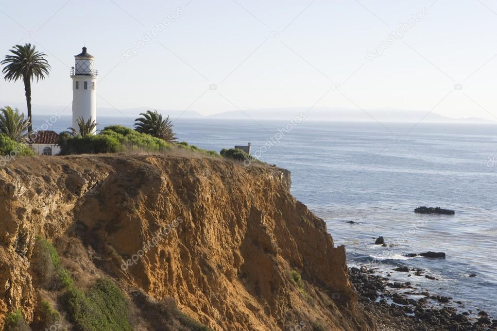 Pigeon Point Lighthouse On Cliff