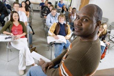 Professor with university students
