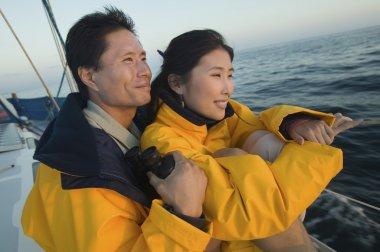 asian Couple  on yacht