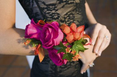 Teenage girl wearing corsage