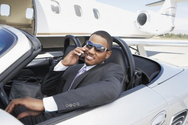 Businessman in convertible