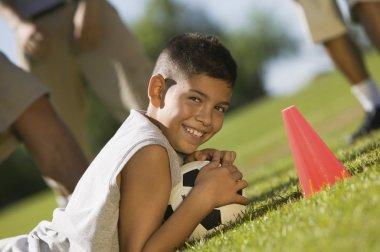 Teen Boy Guarding Soccer Ball