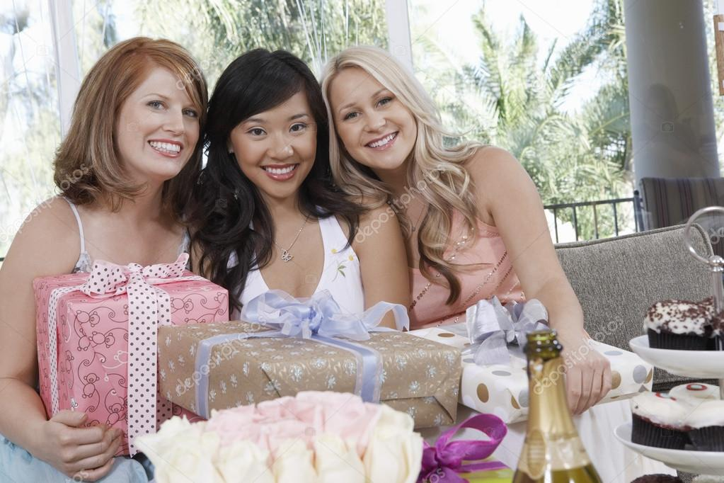 Women with presents at wedding shower