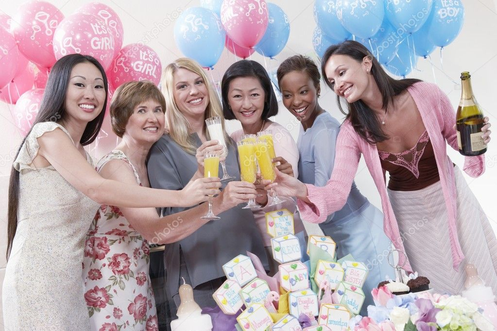 Toast For Baby Shower Friends Having A Toast At Baby Shower Stock Photo C Londondeposit 33804945