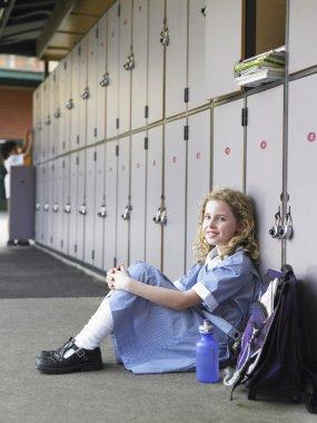 School Girl Near Lockers