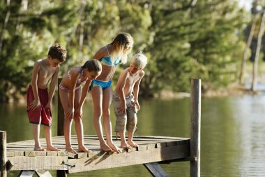 children at Lake jetty