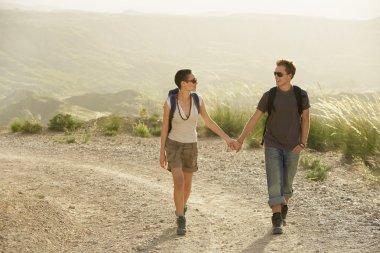 Couple of hikers walking