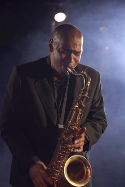 Jazz musician playing saxophone