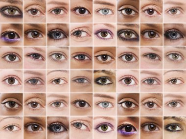 Female eyes in grid