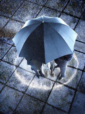 Businesspeople hidden under one umbrella