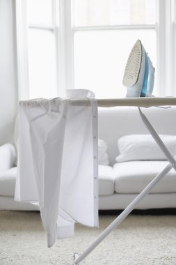 White shirt on ironing board