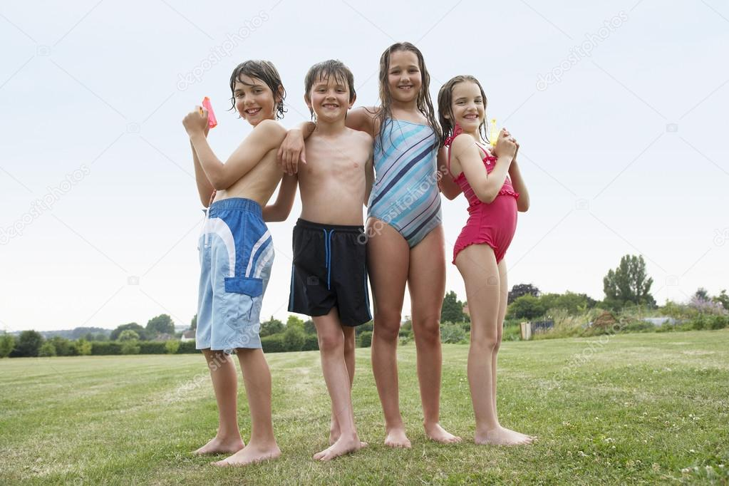 Girls and boys in swimsuits