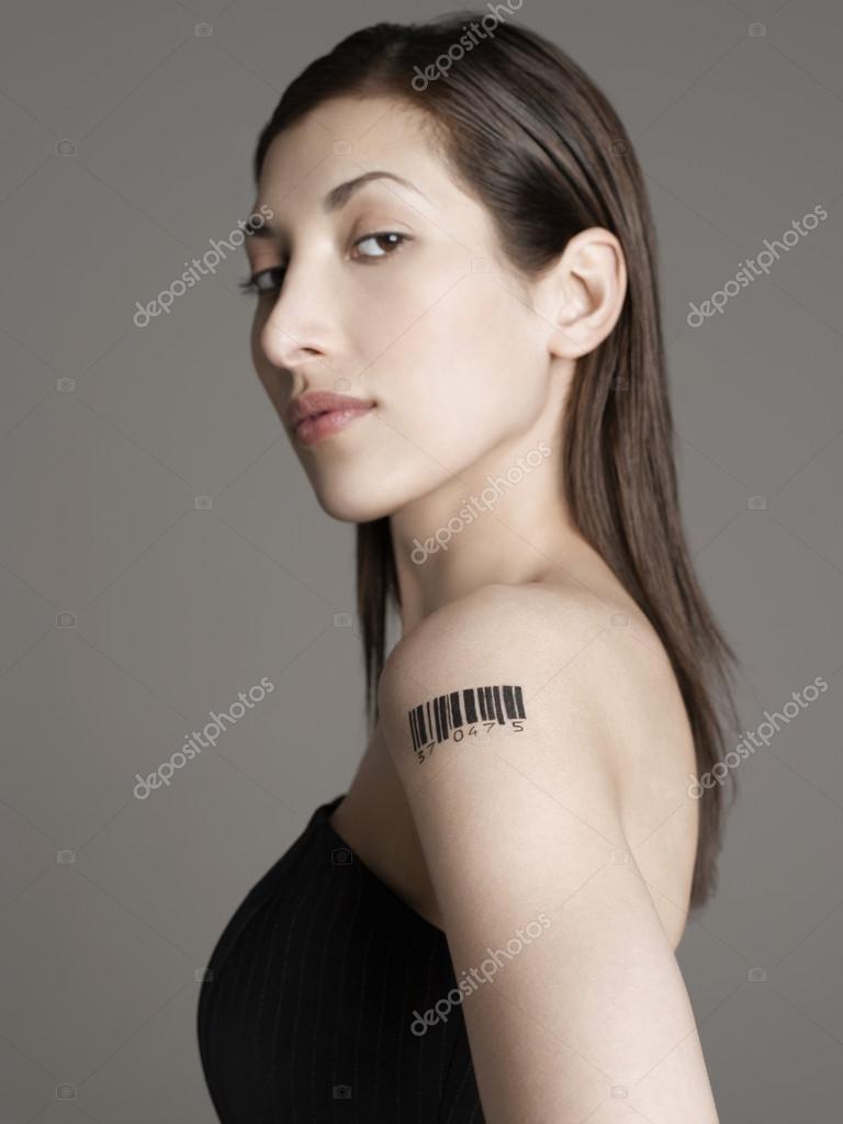 Kobieta Z Tatuaż Kod Kreskowy Zdjęcie Stockowe