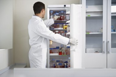 Scientist selecting bottle from refrigerator