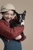 Photo Woman holding French Bulldog