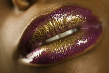 Woman with Purple and Gold Lipstick
