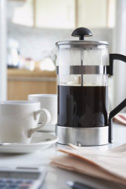 Coffee cups and french press