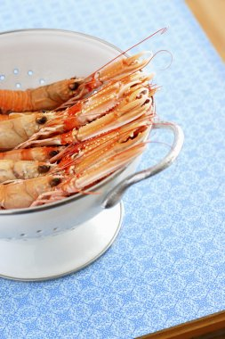 Raw  Shrimps in colander