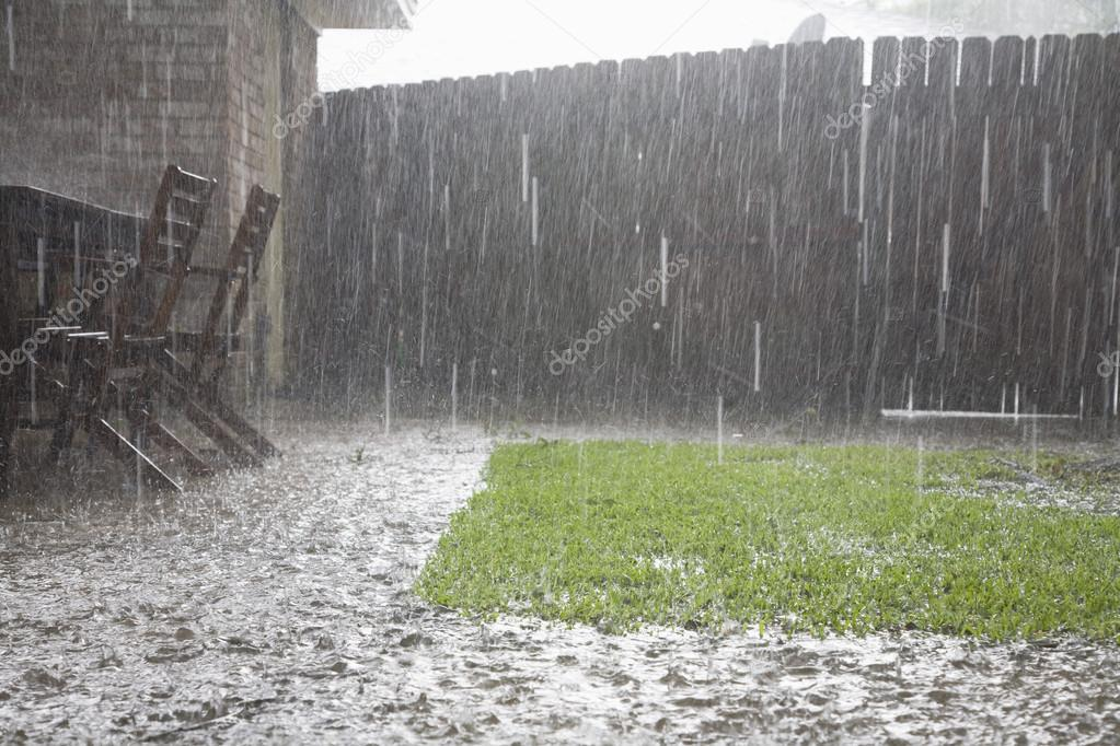 Heavy rain at backyard