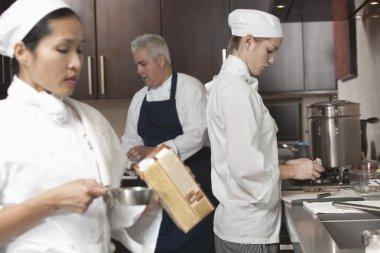 chefs working at busy kitchen