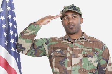 US Marine Corps soldier saluting American flag