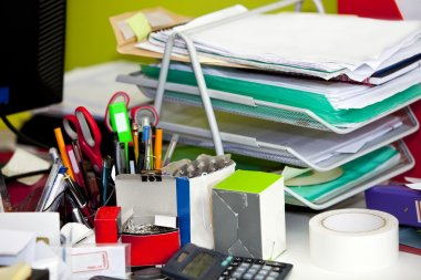 Real life messy desk in office