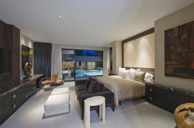 Lit bedroom