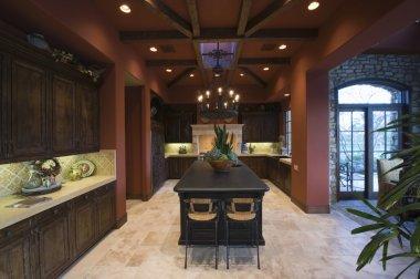 Dark wood and beamed ceilings