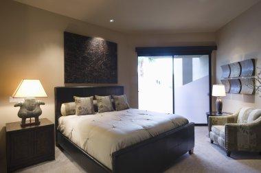 Lit bedroom of home
