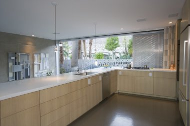 Open plan kitchen furnished