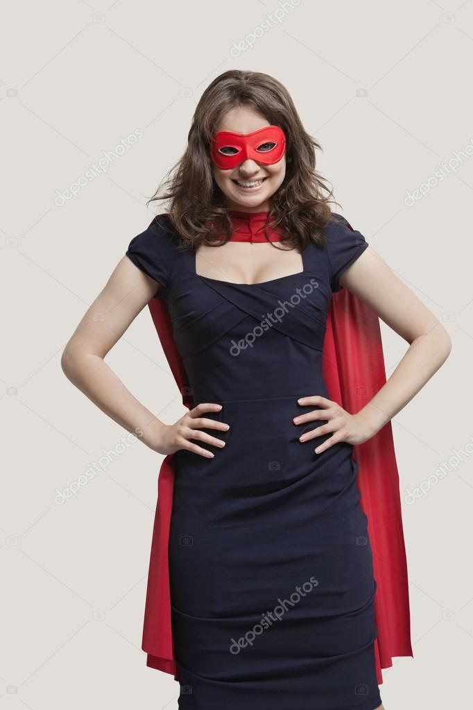 junge frau im superhelden kost m stockfoto londondeposit 33985321. Black Bedroom Furniture Sets. Home Design Ideas