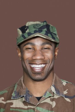 African American US Marine Corps soldier smiling