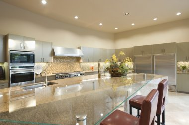 Glass topped kitchen