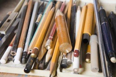 Variety of art pencils