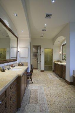 Bathroom with mosaic tiled floor