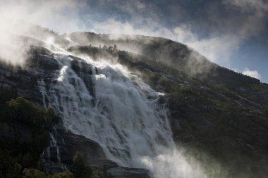 Norwegian waterfall Langfoss Akrafjorden