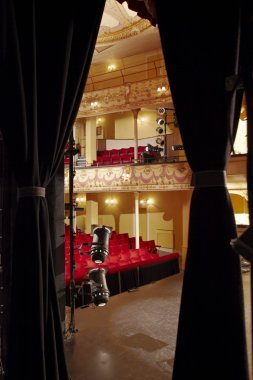 Theatre view through stage curtain