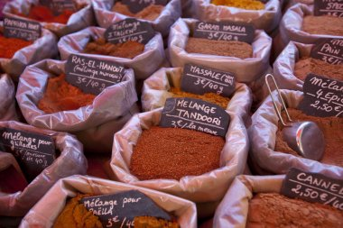 spices on display in store