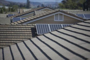 Roof tops with  solar panelling