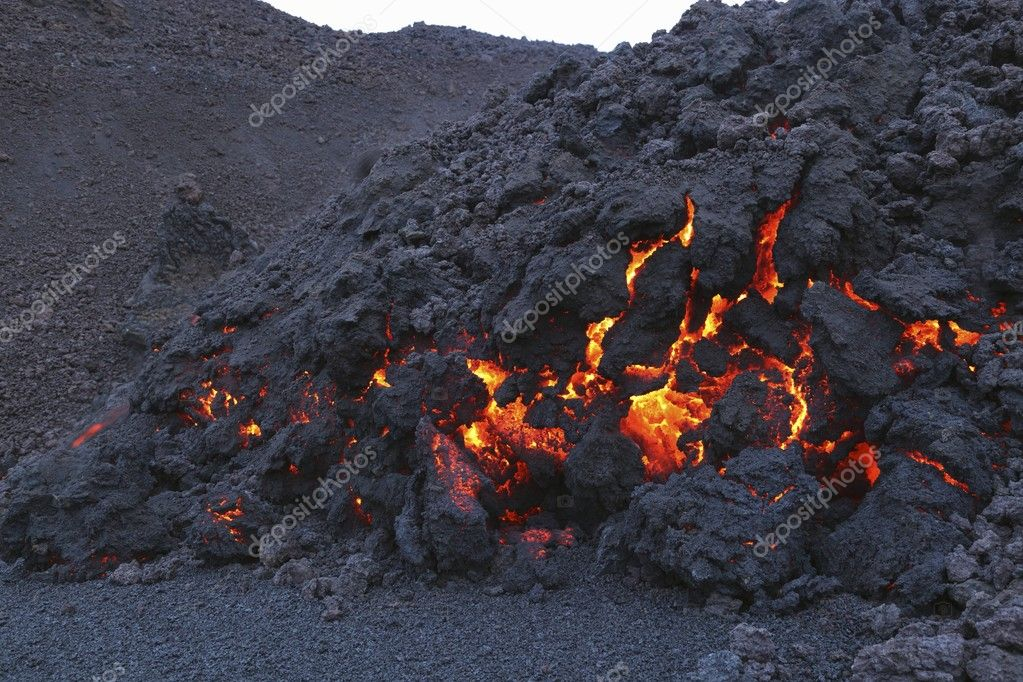 Glowing molten volcanic rock