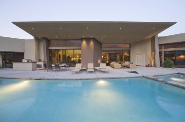 Swimming pool and paved seating area
