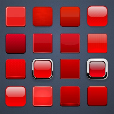 Red square high-detailed modern web buttons.