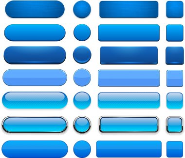 Set of blank blue buttons for website or app. Vector eps10. stock vector