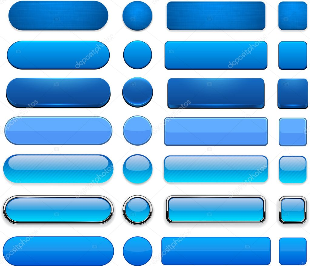 Blue high-detailed modern web buttons.