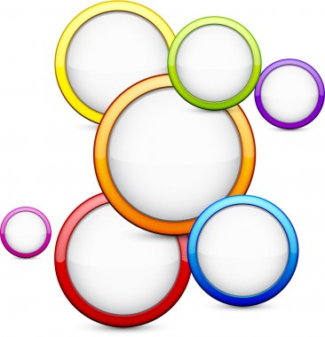 Colorful background with glossy circles.