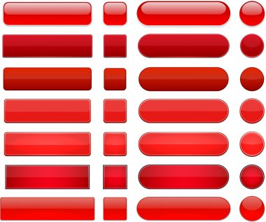 Set of blank red buttons for website or app. Vector eps10. stock vector