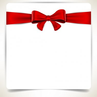Squre paper sheet with red bow.