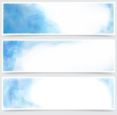 Blue watercolor abstract banners.